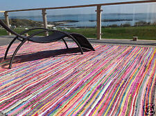 ❤️Plain Bright Multi Colour Rag Rug Finished Edge 200 x 400cm MASSIVE FLAT WEAVE