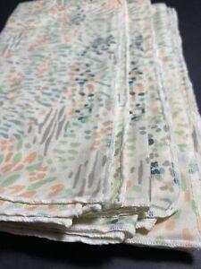 Retro Set Of 5 Peach Yellow & Green Watercolor Napkins Cotton Blend - 1980s