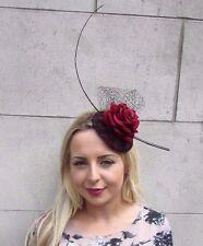 Black Burgundy Red Rose Net Flower Fascinator Hat Ascot Hair Clip Races Vtg 3111