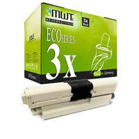 3x MWT ECO Toner SCHWARZ für OKI MC-342-DN