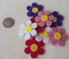 5 x Felt Flower Appliques/Patches Mixed Colours