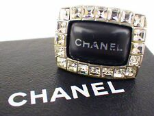 Authentic CHANEL Ring Rhinestone Silver plated Plastic 00A Vintage Classic