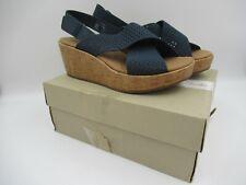 Clarks Stasha Bridget Navy Size UK 6 EU 39.5 Wedge Heeled Shoes BNWB C976