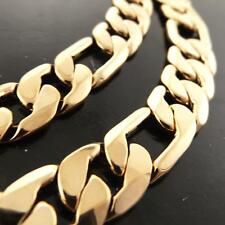 "Necklace Chain Real 18k Yellow G/F Gold Solid Mens Figaro Bling Link 22"" 55cm"