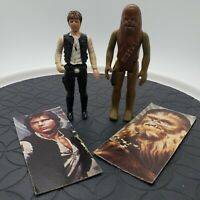 Star Wars 1977 Han Solo Big Head & Chewbacca Action Figure Lot First 12 w/ Cards
