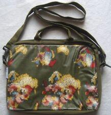 Notebooktasche Handtasche Umhängetasche olivegrün mit Weltkarte Schultertasche