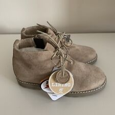 BNWT Boys NEXT Beige Suede Leather Fur Lined Boots - Size 12 Jnr