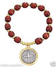 Saint Benedict Bracelet, Brown Wood Beads Catholic Religious Two Tone Medal