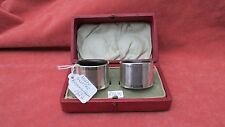 A Set of Solid Silver Boxed Napkin Rings with Engraved Names HM Birmingham 1924