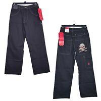 JNCO Baggy Fit Wide Leg Mens Jeans Skull & Cross Bones Size 29x30 Skater VTG 90s