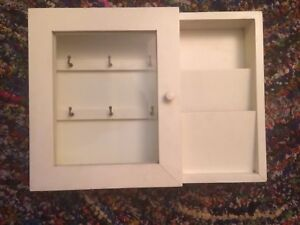 Wall Mount Letter Rack Key Holder Mail Shelf Wood Organizer Glass Door White