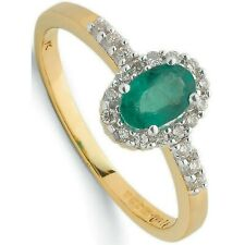 Emerald and Diamond Ring Cluster Engagement Solid Yellow Gold Appraisal