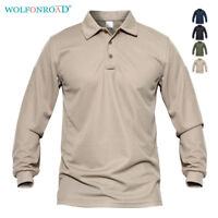 Mens Polo Shirts Long Sleeve Rugby Golf Shirts Tactical Casual Pullover Shirts