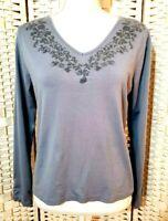 Liz Claiborne Top Women M Stretch Blue Long Sleeve V Neck Blouse Shirt Casual