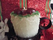 LOVELY 4X4 CHRISTMAS CAKE CANDLE TOPPED WITH POINSETTIA FLOWER-HIGHLY SCENTED