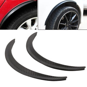 2PCS Car Wheel Eyebrow Arch Trim Lip Fender Flares Protector Carbon Fiber Rubber