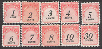 US. J89 - J98. 1c - 30c, Postage  Due Stamp. Set of 10. MNH. 1959
