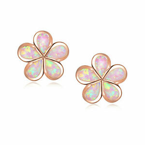 (RGE 8) GORGEOUS  PINK   FIRE OPAL ROSE GOLD    STUD  EARRINGS