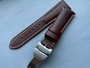 Tudor New 22mm Leather Deployment Watch Strap With Tudor clasp.