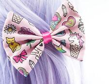 Pink Patches Flair Pin Print Handmade Medium Hair Bow Hair Clip