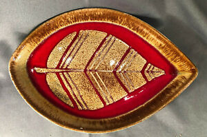 """Vtg Pottery Poole England Plate Signed Red Gold Brown Striped Leaf Fall Art 12"""""""