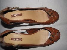 Thom McAn Women's Brown Open Toe High Heel Sandal Shoes Size 8.5 M NICE