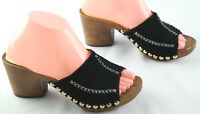 Michael Kors High Heel Sandals Womens Size 7.5 Black Leather Studded Slip Ons