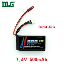 Genuine DLG RC Battery 7.4V 2S 25C 500mAh Burst 50C Li-Po LiPo JST plug