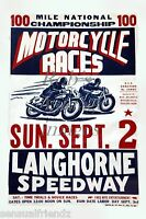 AMA Vintage Motorcycle Racing Poster Langhorne Speedway PA Ad