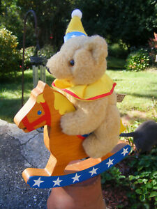 Vintage Collectibles Wooden Rocking Horse Toy w Applause Bear Rider
