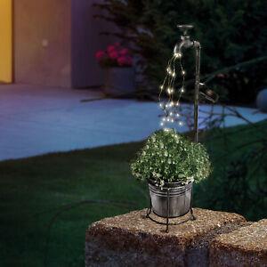 Solar Deko Wasserhahn 30 LED Lichterbündel Lichterkette Lampe Garten 102388