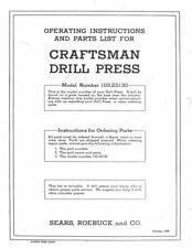 "1946 Craftsman 103.23130  15"" Drill Press-Operating Instructions & Parts List"
