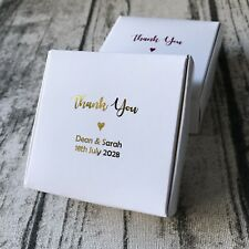 40x Custom White Paper Boxes Gold Foil Wedding Favour Box Personalised Gift Box