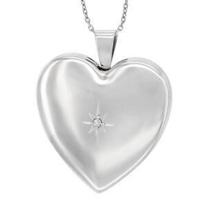 """Argent Sterling Médaillon Coeur Pendentif Avec Petit Diamant, 18 """" Italien Cable"""
