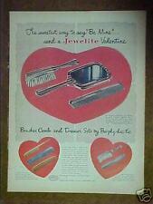 1948 Jewelite valentine hand held mirror comb brush ad
