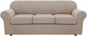 Large SOFA SLIPCOVER Furniture Cushion Couch Protector sand Taupe 4 Piece