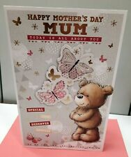 """MOTHER'S DAY CARD MUM HQ EX LARGE 12""""x8"""" TEDDY & BUTTERFLIES 8 PAGE INSERT"""