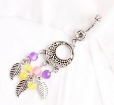 Dream Catcher belly ring navel 14G dangle piercing beads feathers body jewelry