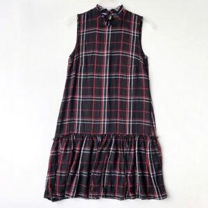 Just Taylor High Neck Drop Waist Plaid Dress Black S
