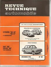 REVUE TECHNIQUE AUTOMOBILE 351 RTA 1975 DAF 66 VOLVO 66 CITROEN DS20 DS21