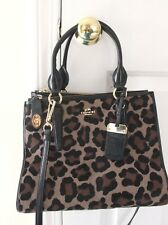 00239a00a3 COACH Crosby Ocelot Leopard Haircalf Shoulder Crossbody Satchel Bag  33610  NEW