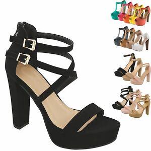 New Women Classic T-Strap Peep Toe Sandals Pump Platform Ankle Buckle Party Shoe