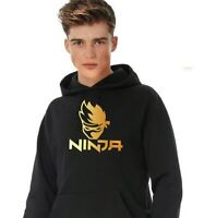 Quality Boys Ninja Black Jumper Gold printed Kids men hoodie Kangaroo pockets