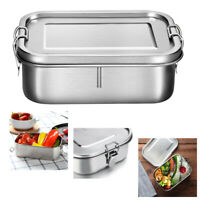Metal Bento Box Stainless Steel Lunch Box 800ml Leakproof  Box with Lock Clips