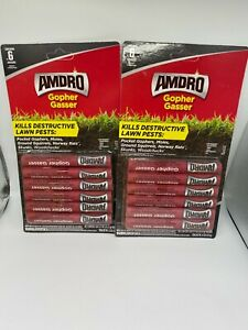 Lot of 2: Amdro Gopher Gasser 6-Ct Kills Destructive Lawn Pests Outdoor TOTAL~12