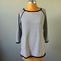 Talbots Womens Sweater Striped 3/4 Sleeve Raglan High Low Size M