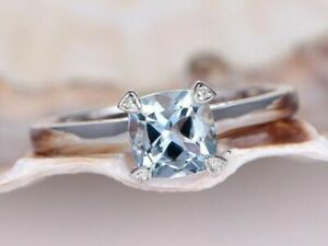 1ct Cushion Cut Blue Aquamarine Solitaire Engagement Ring 14ct White Gold Over