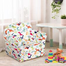 Kids Single Sofa Toddler Children Upholstered Armrest Chair Playroom Furniture
