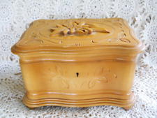 Vintage Wood Music Jewelry Trinket Box Storage German Carved Black Forest 1970s
