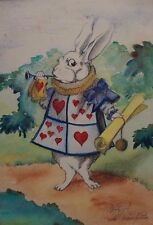 Great & Early Vintage Alice in Wonderland Watercolor Painting of White Rabbit